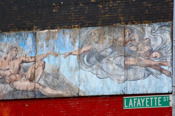 Sacred Art on Lafayette Street, East Village.  July, 2012.